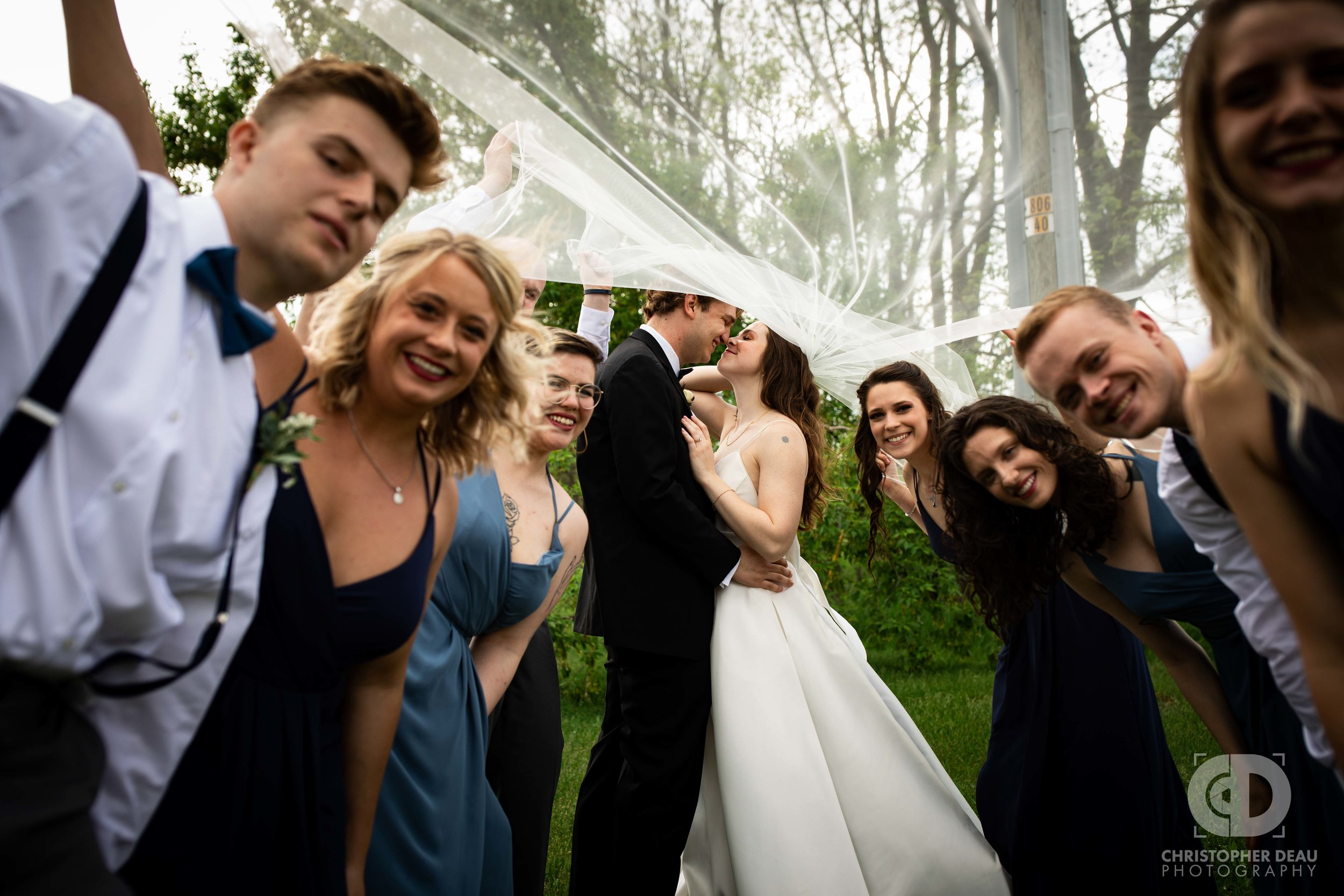 all of wedding party under the brides veil
