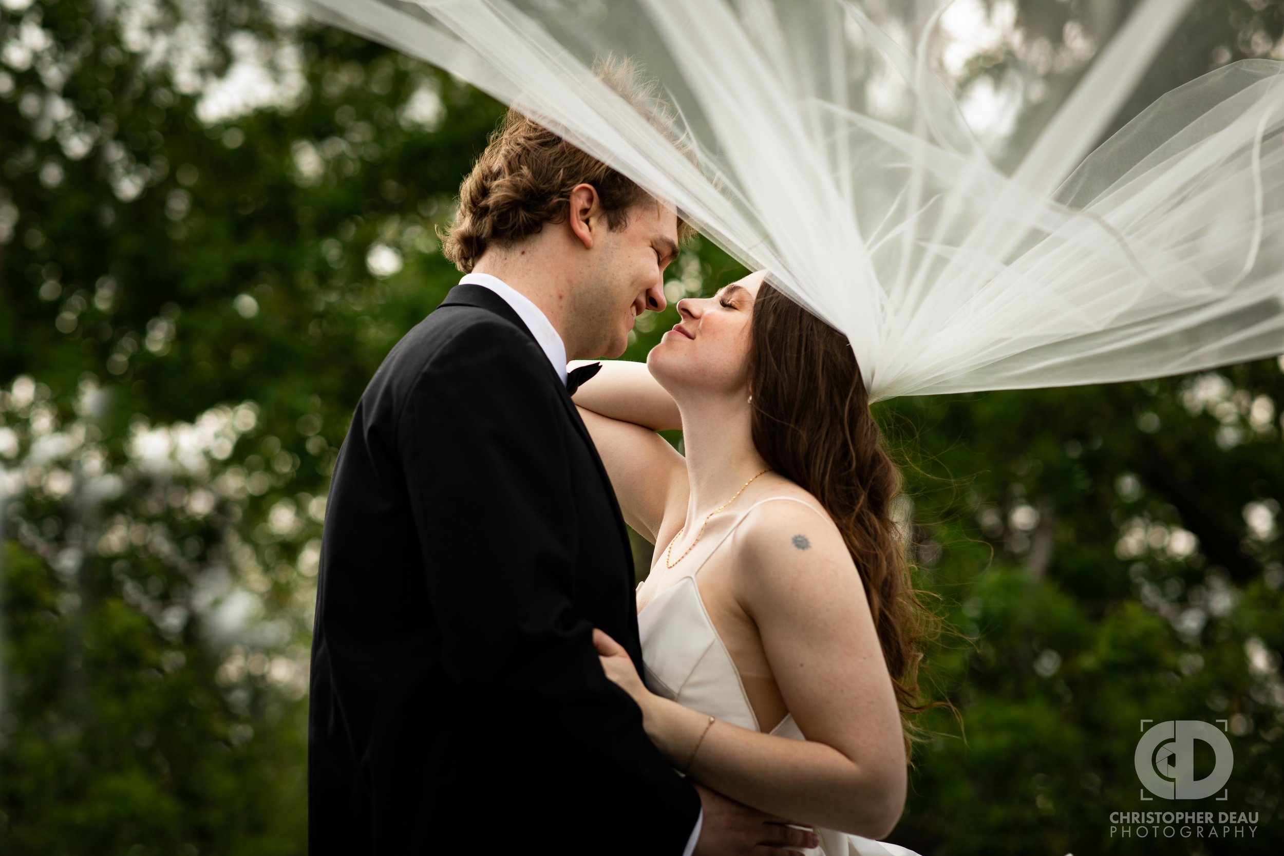 Bride and Groom kissing under white veil-.jpg