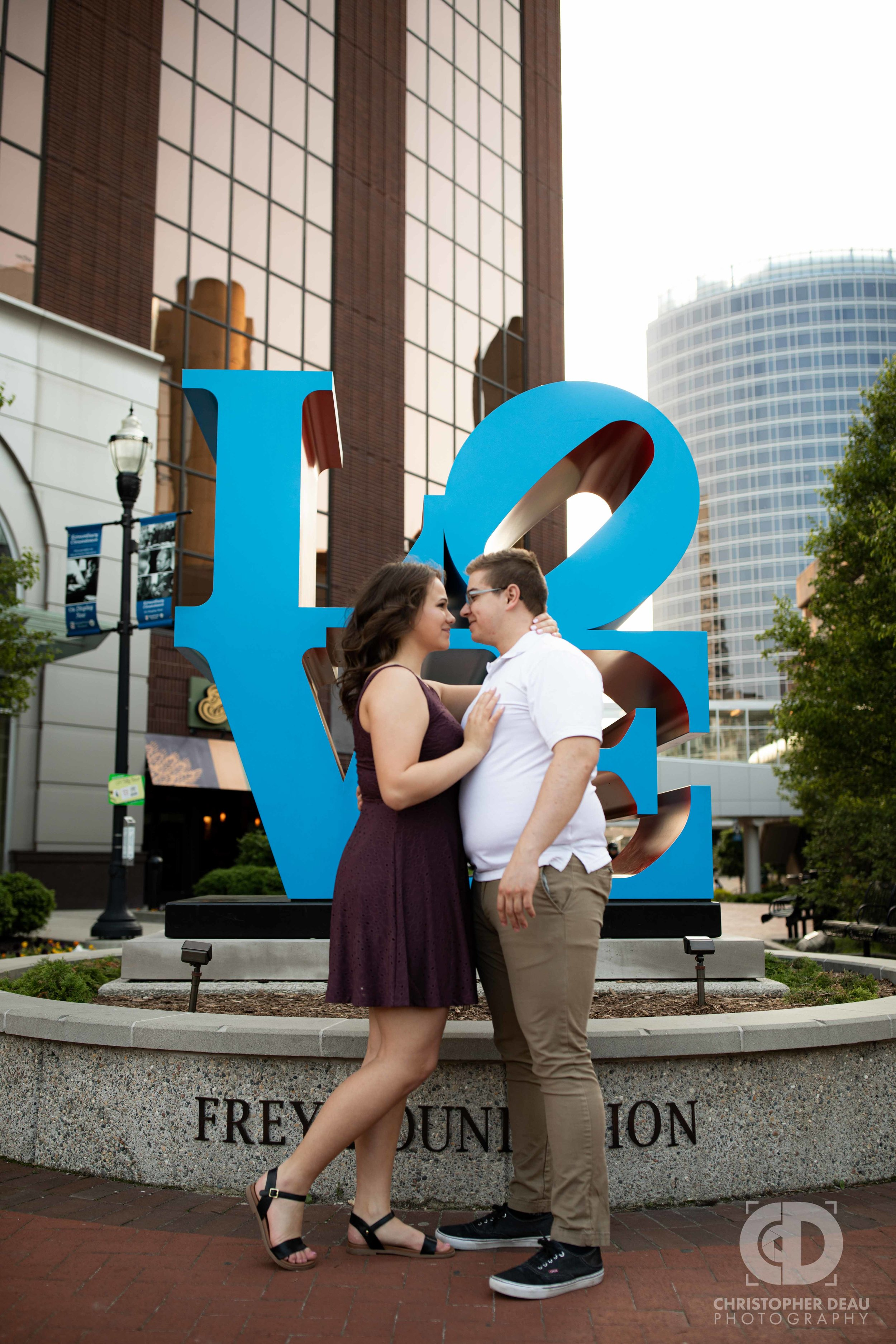 Grand Rapids Love sculpture engagement session.jpg