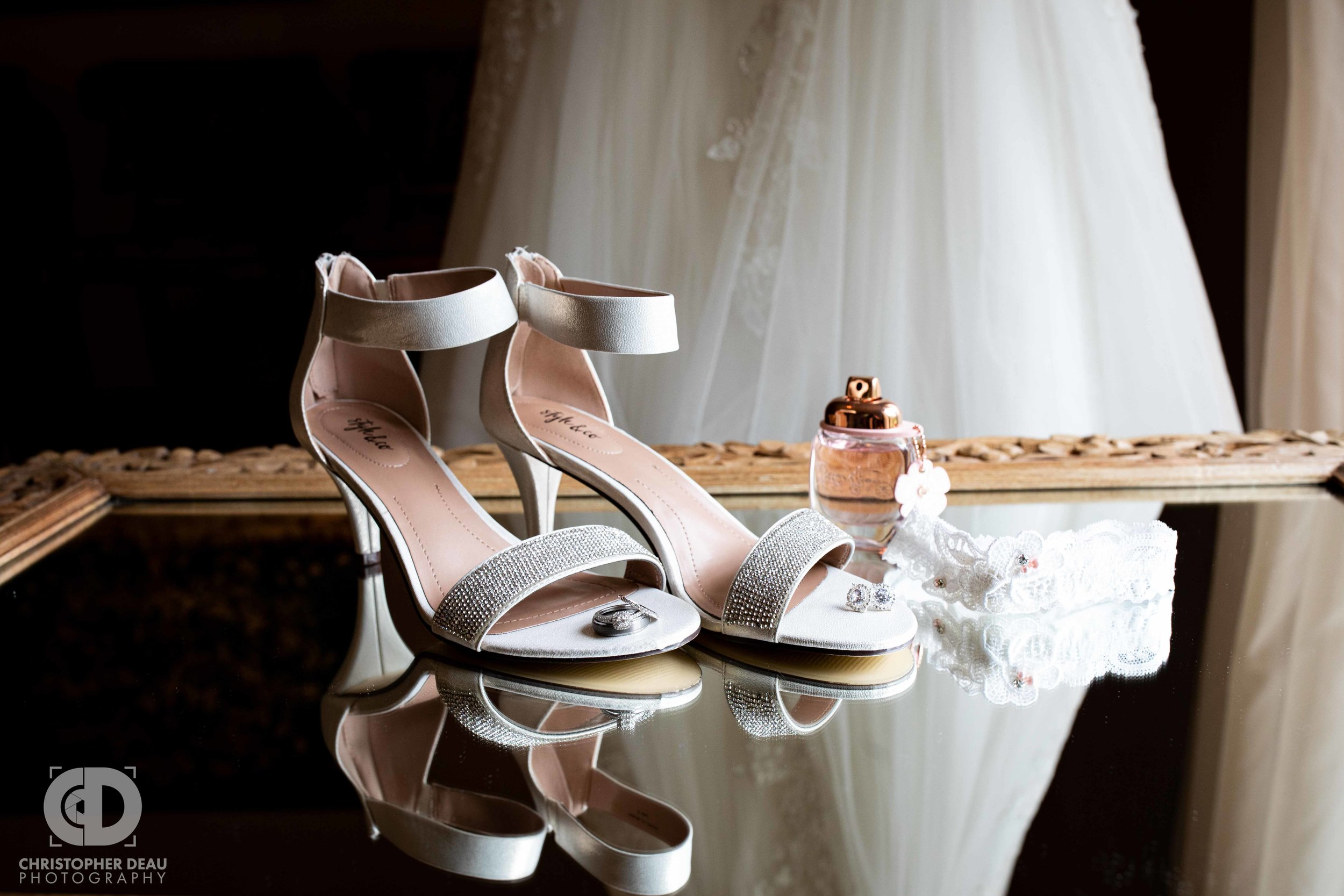 wedding dress, shoes, rings, and other jewelry