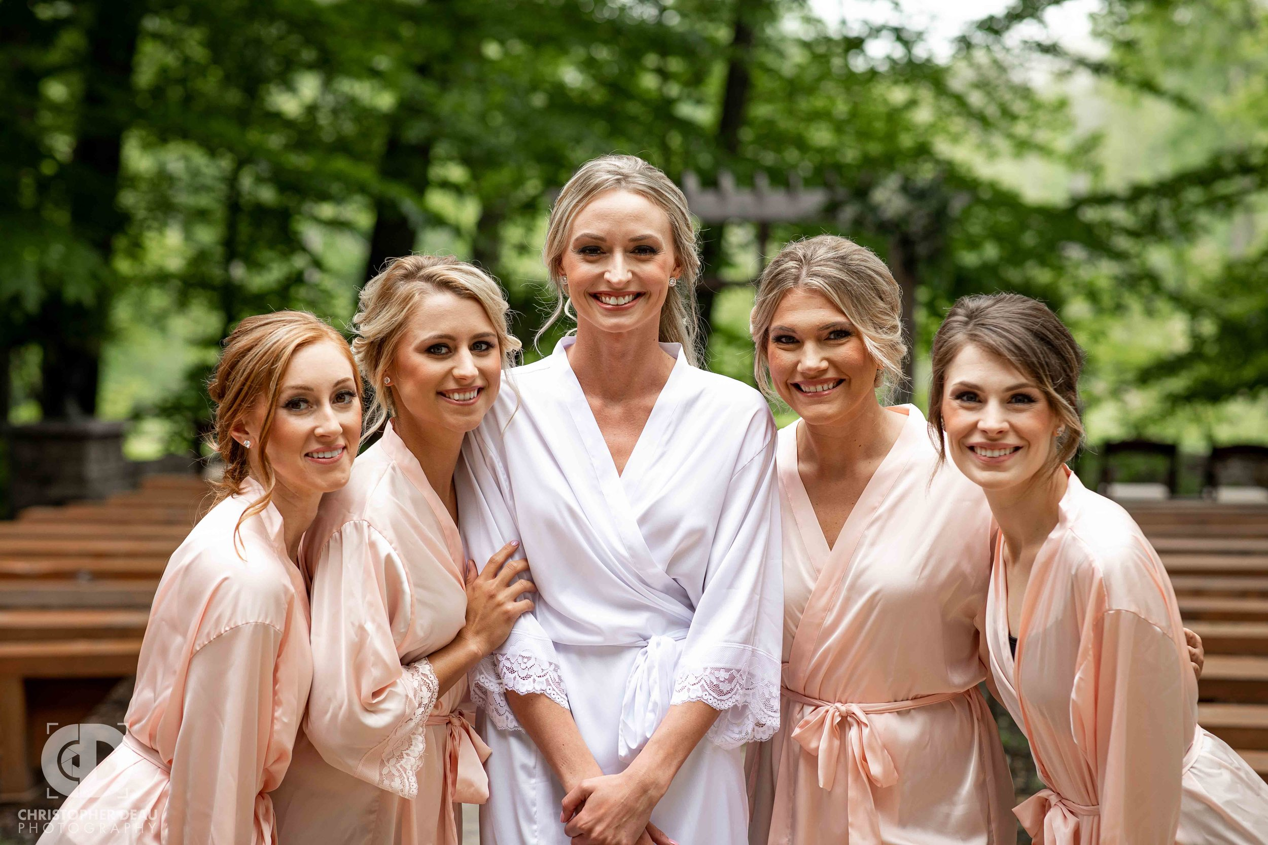 more bridesmaids in their robes