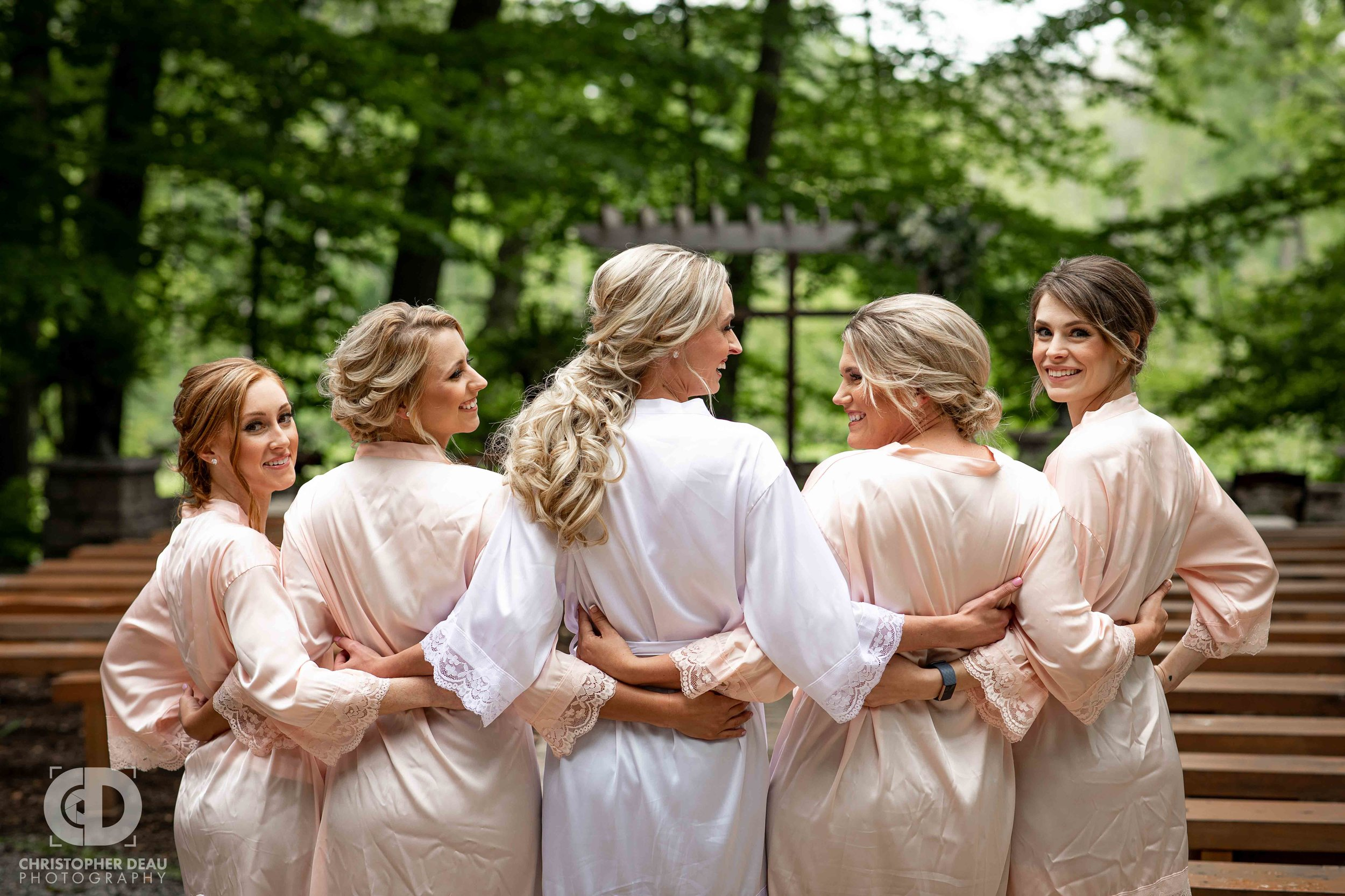bridesmaids in their robes