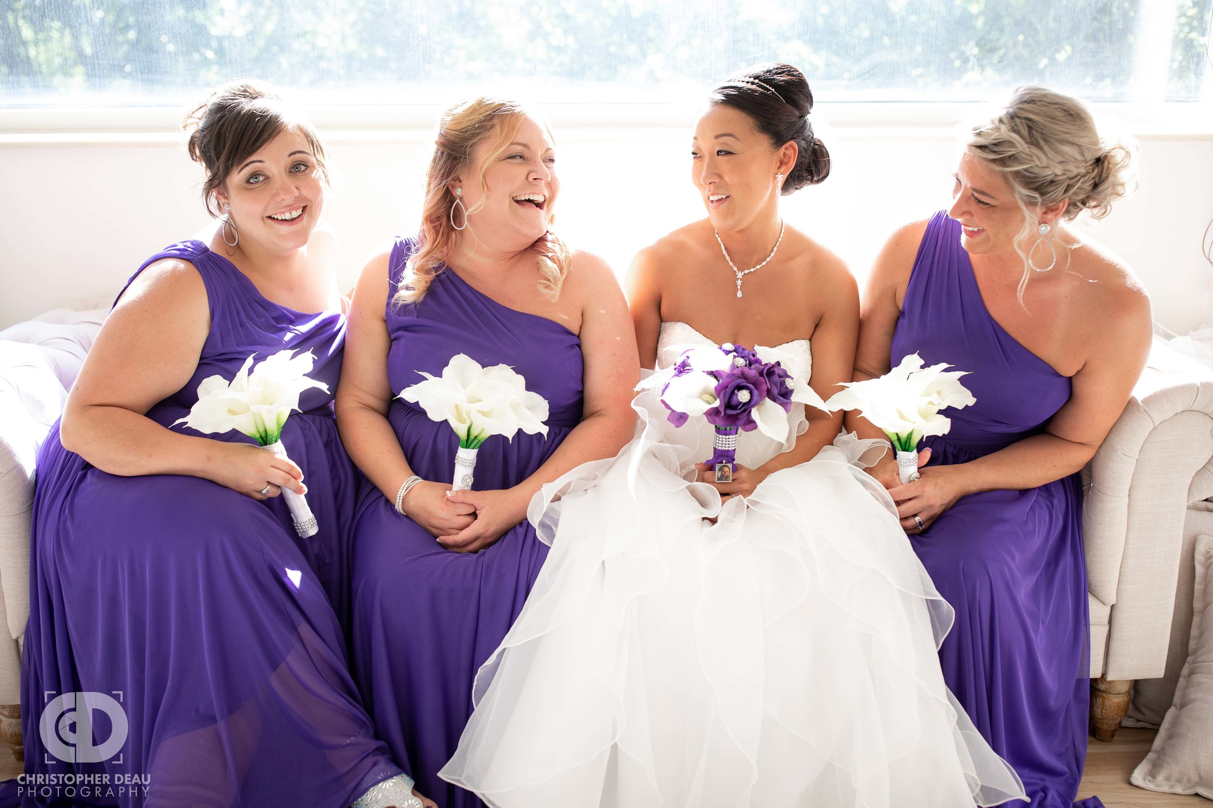 Bridesmaids with Bride on couch at WMU Fetzer Center