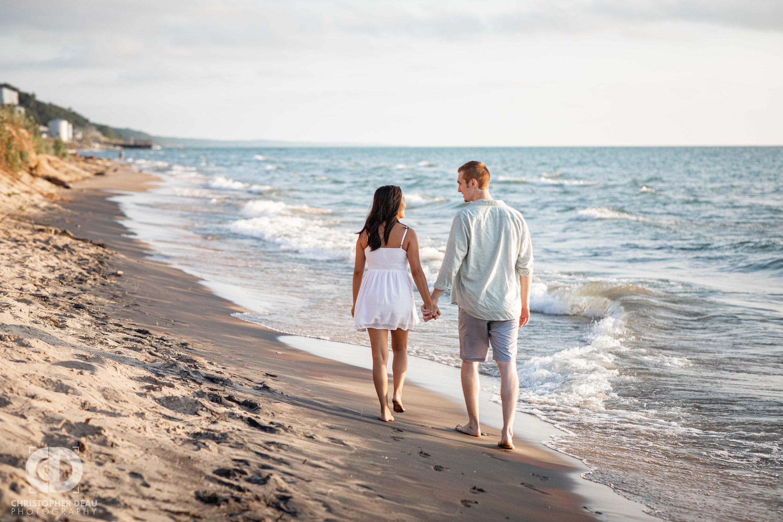 Beach engagement session at Van Buren State Park near South Haven, Michigan