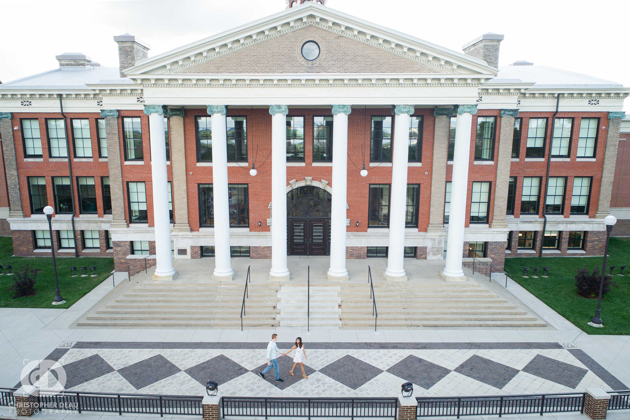 drone photo of Heritage Hall during engagement session