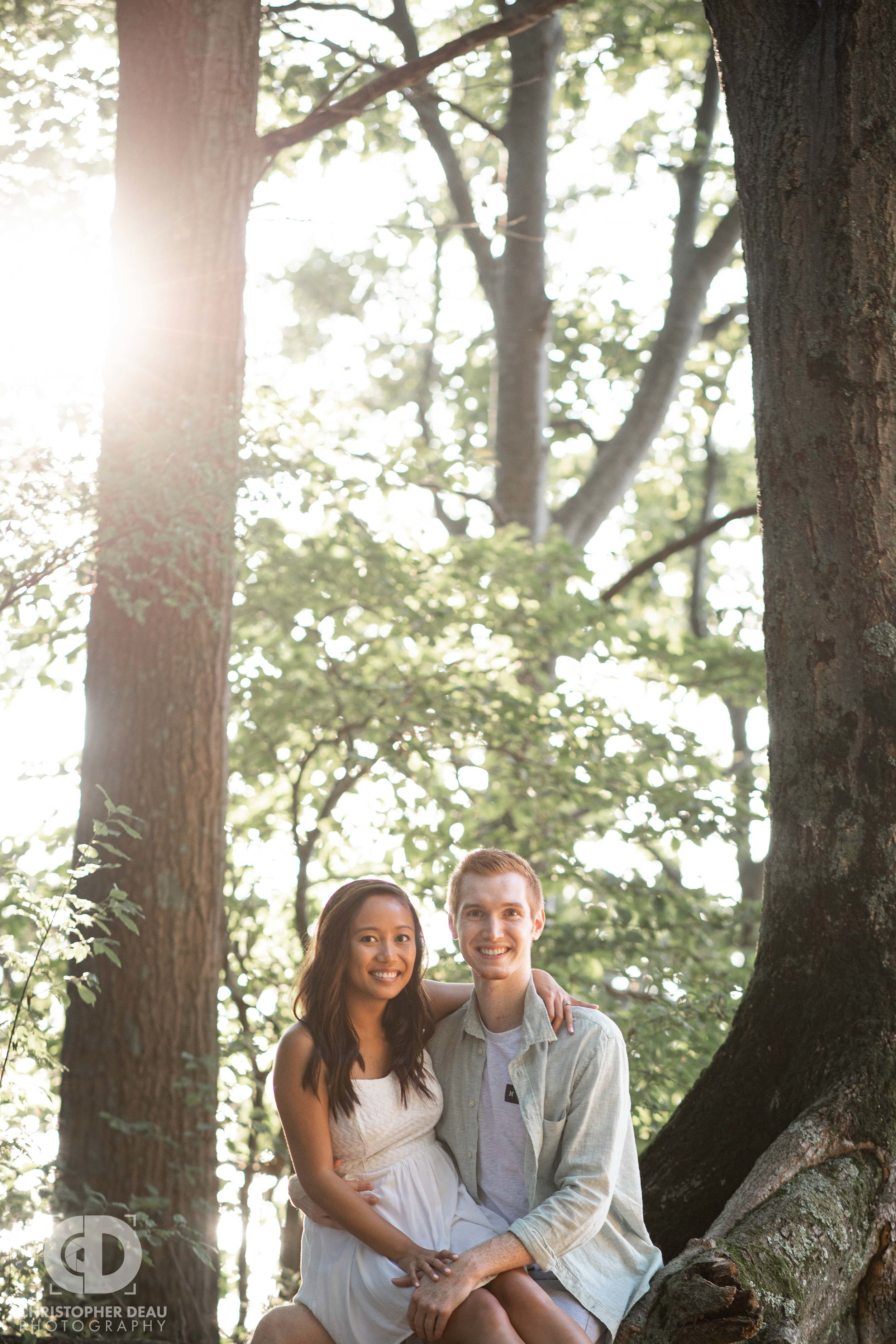 Sunset at Van Buren State Park during engagement photos