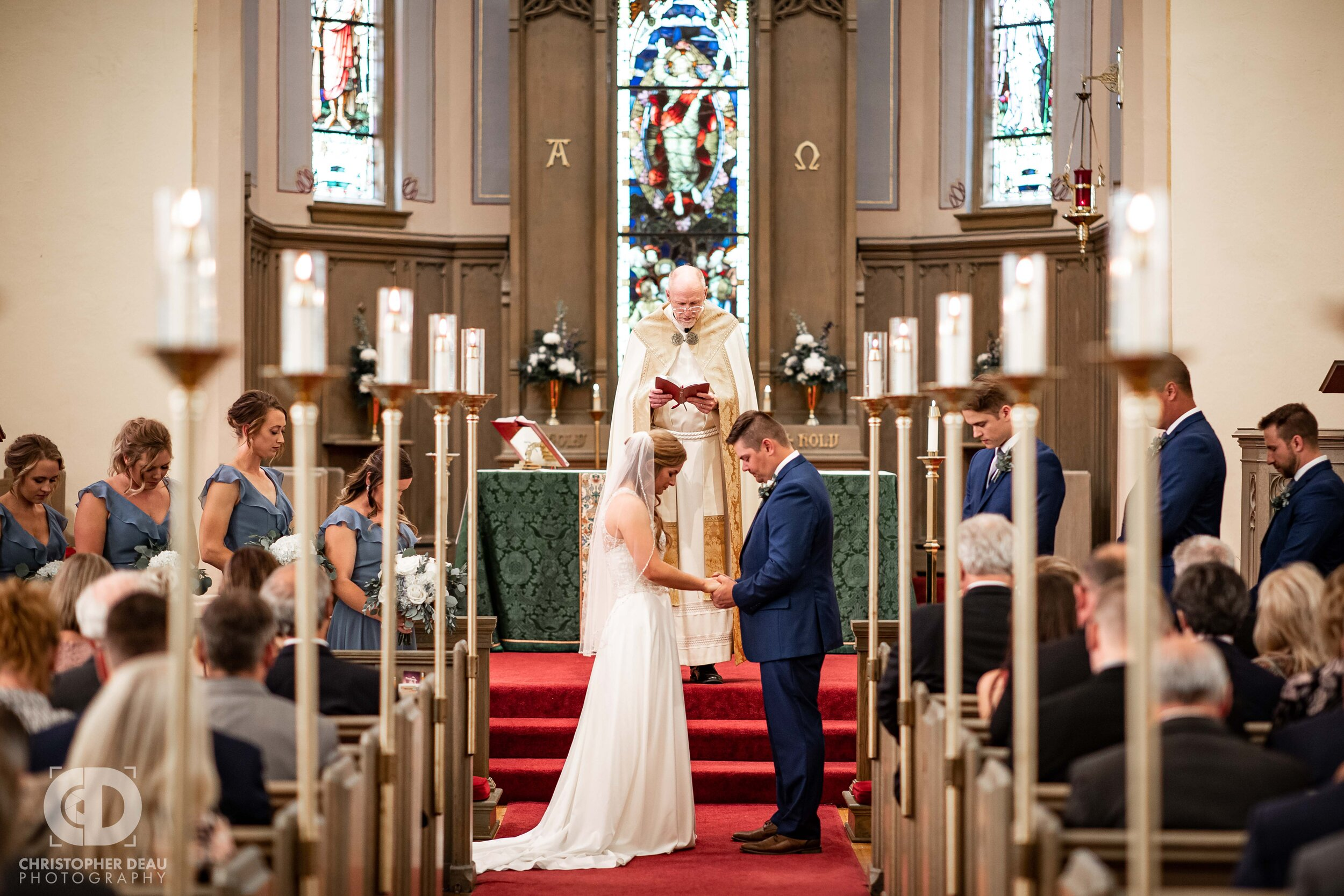 wedding ceremony at Trinity Lutheran Church in Kalamazoo, MI