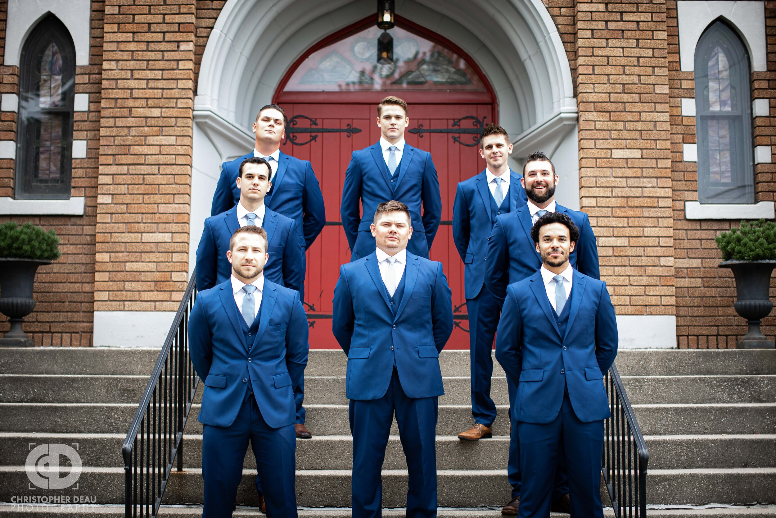groomsmen before the ceremony at Trinity Lutheran Church in Kalamazoo