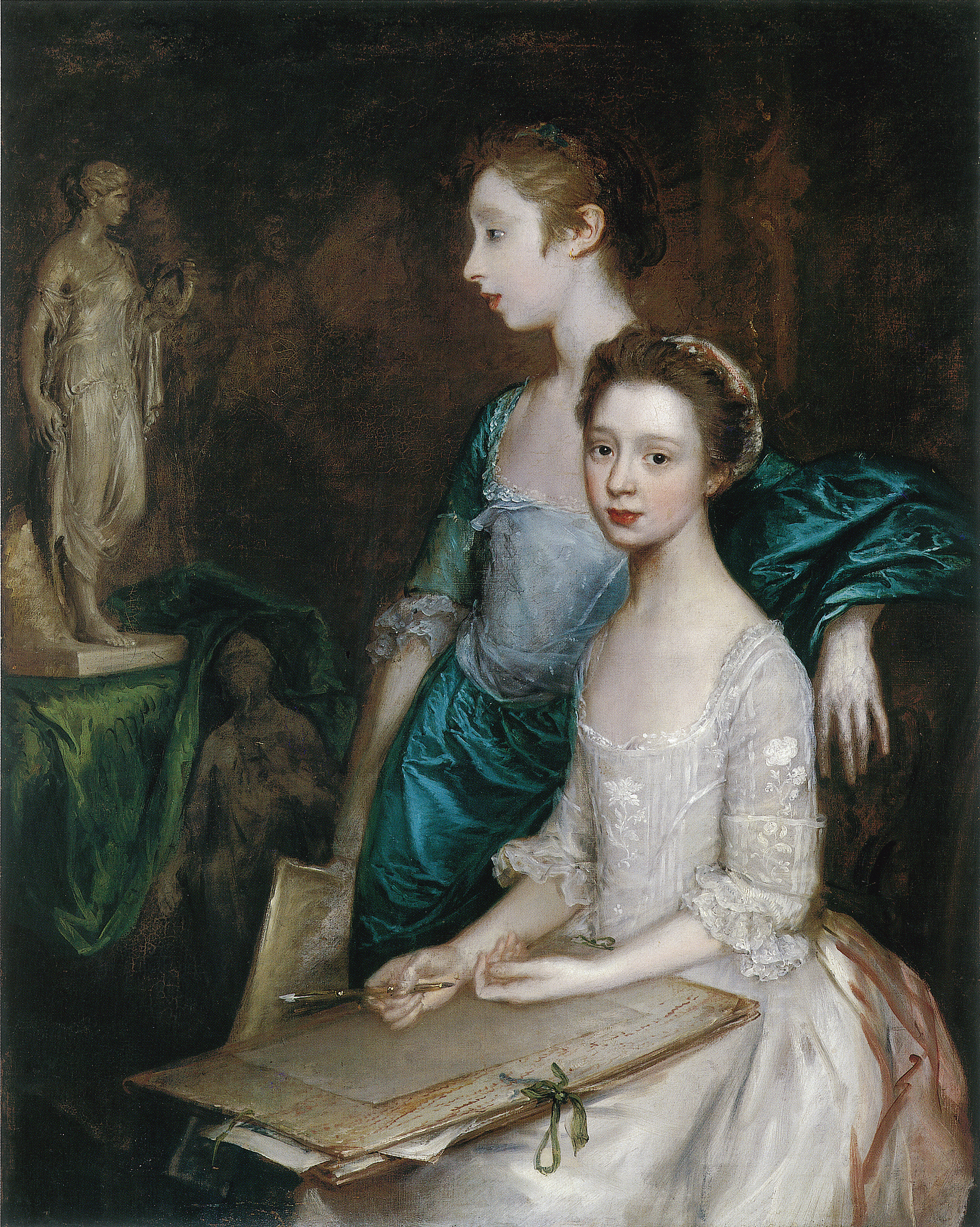 Mary and Margaret Gainsborough, the Artist's Daughters, at their Drawing by Thomas Gainsborough