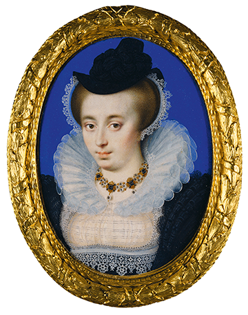 Unknown Woman Wearing a hat by Isaac Oliver, c 1590-5. Royal Collection Trust / c Her Majesty the Queen Elizabeth 11 2019