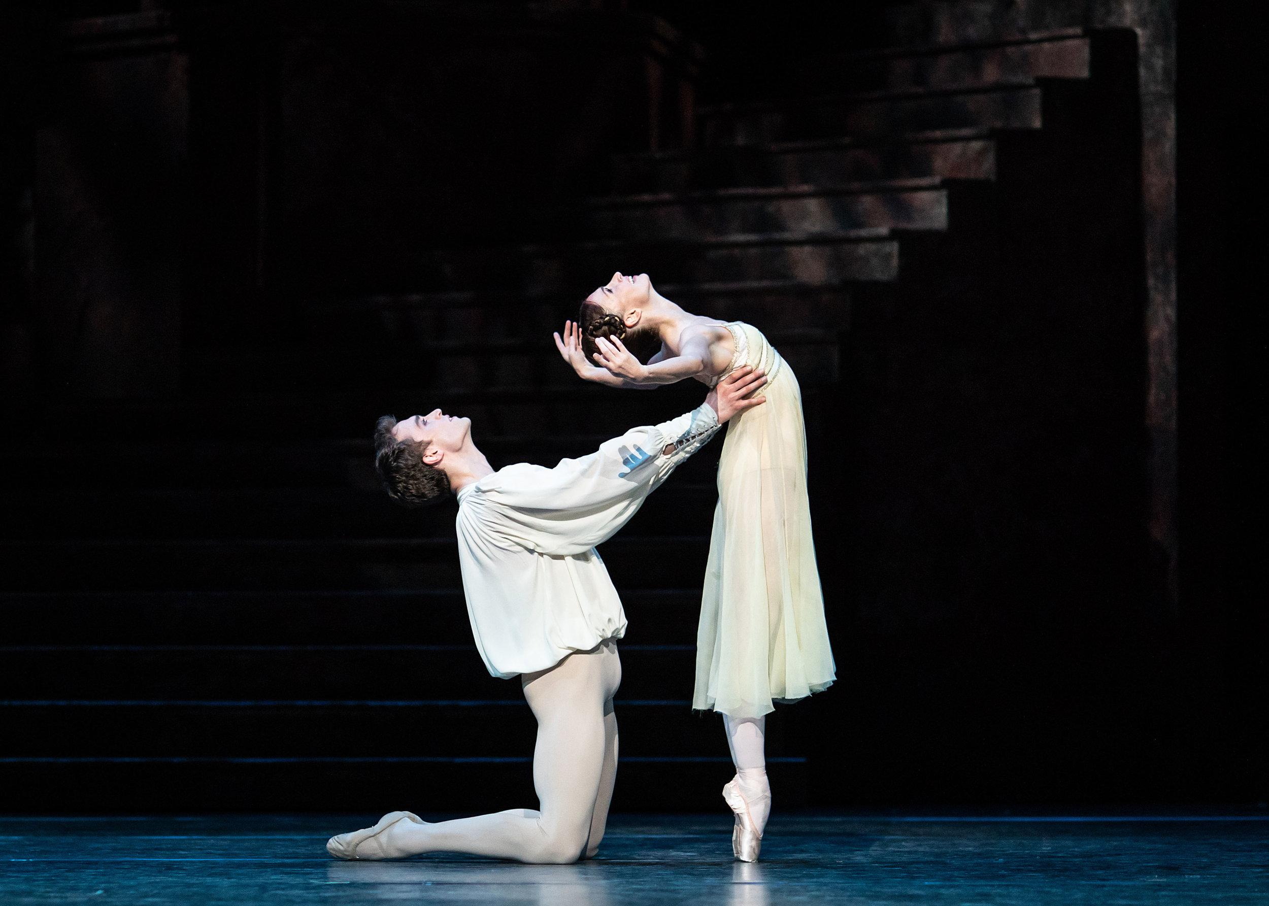 Matthew Ball as Romeo and Lauren Cuthbertson as Juliet in Romeo and Juliet, The Royal Ballet c2019 ROH. Photograph Helen Maybanks