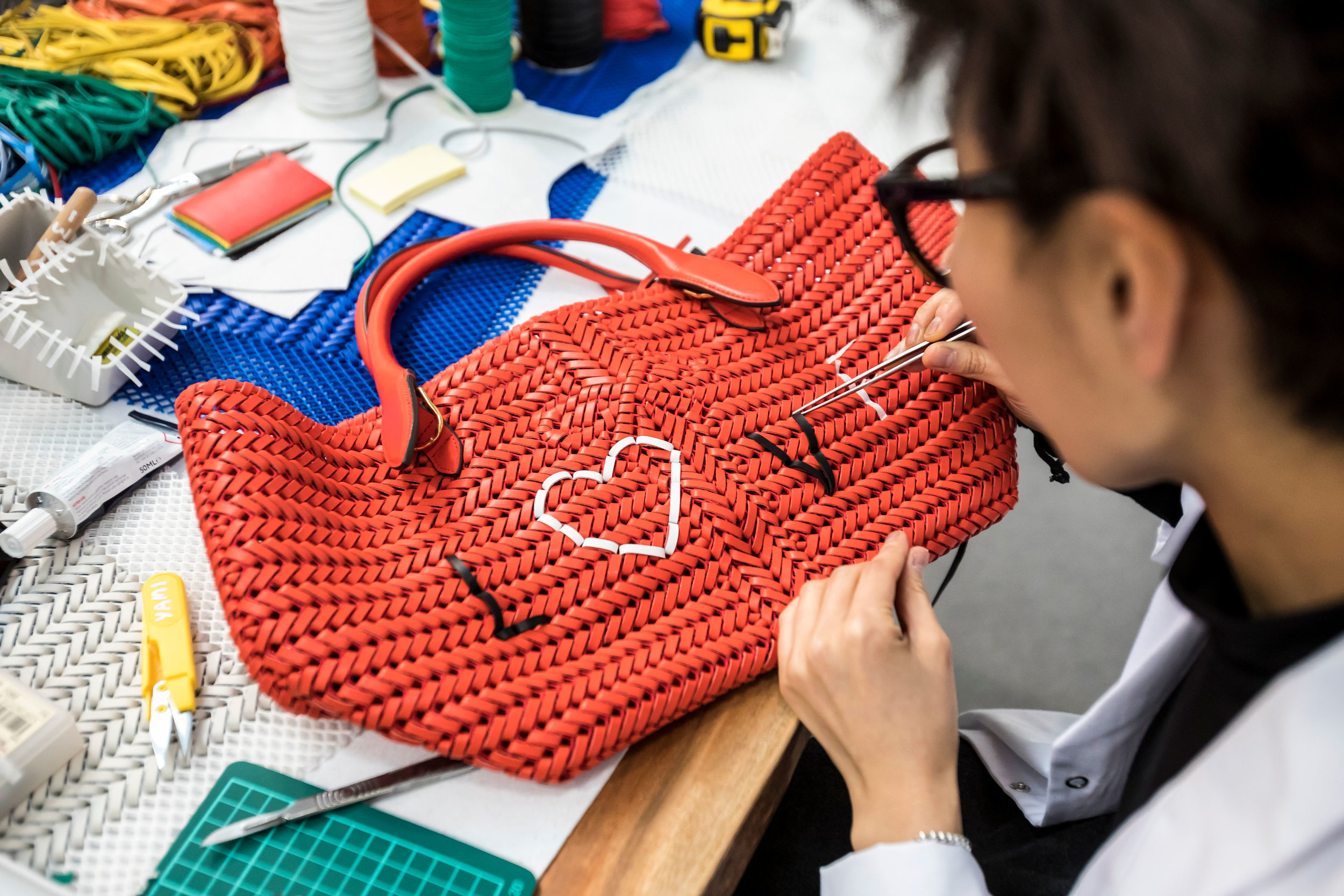 Anya Hindmarch Weave Project. The in-house creatives working on the Anya Hindmarch Neeson Collection