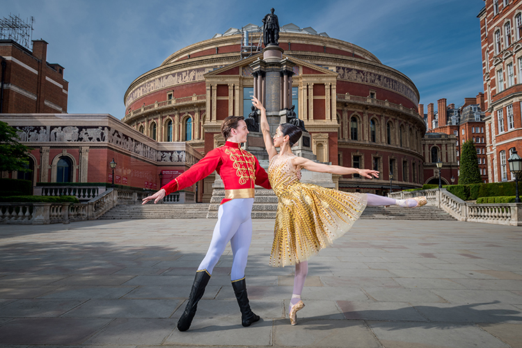 English National Ballet Lead Principals Erina Takahashi and Joseph Caley in front of the Albert Hall ahead of Cinderella-in-the-round. Photo Ian Gavan