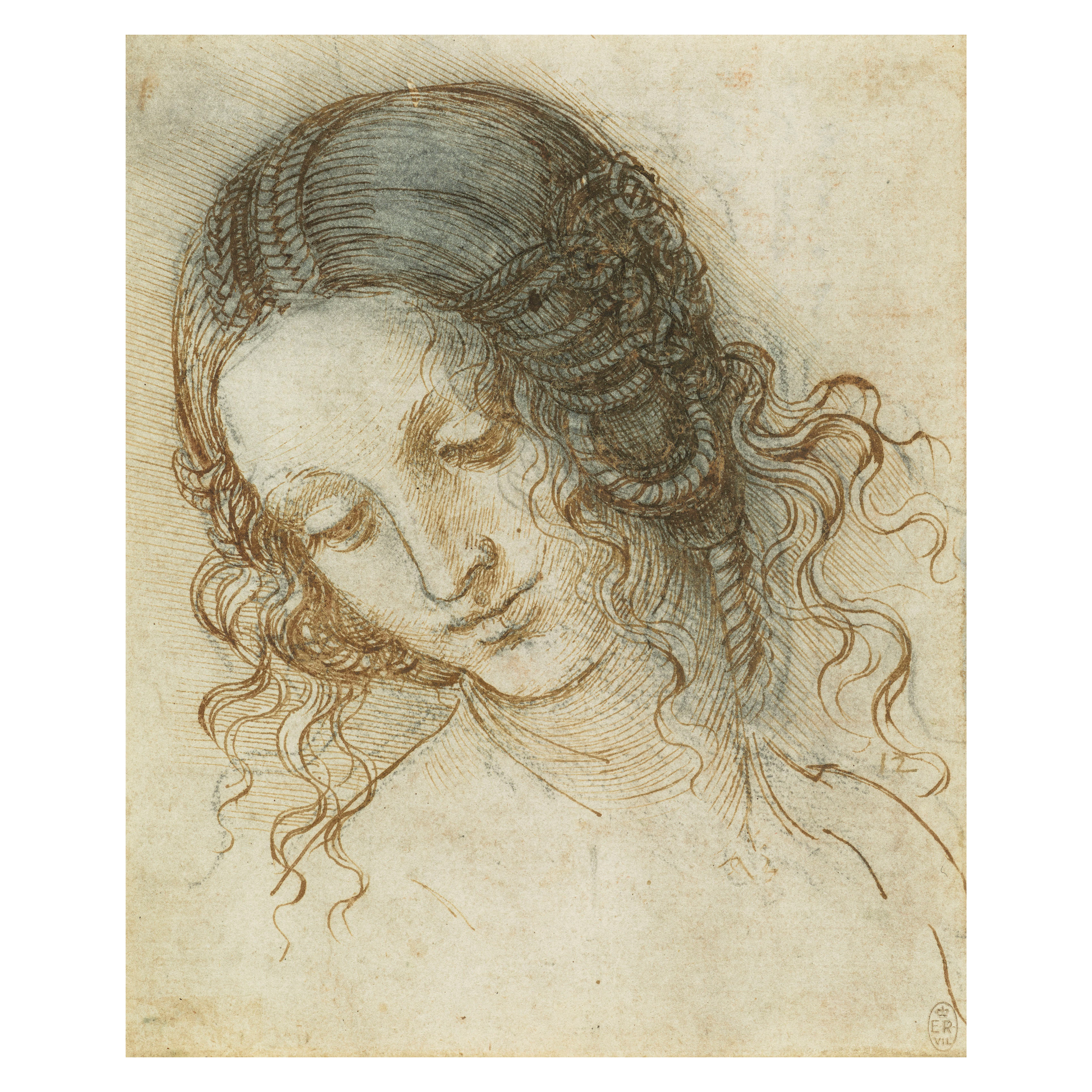 Leonardo da Vinci, The head of Leda c1505-8. Her Majesty Queen Elizabeth 11/Royal Collection Trust