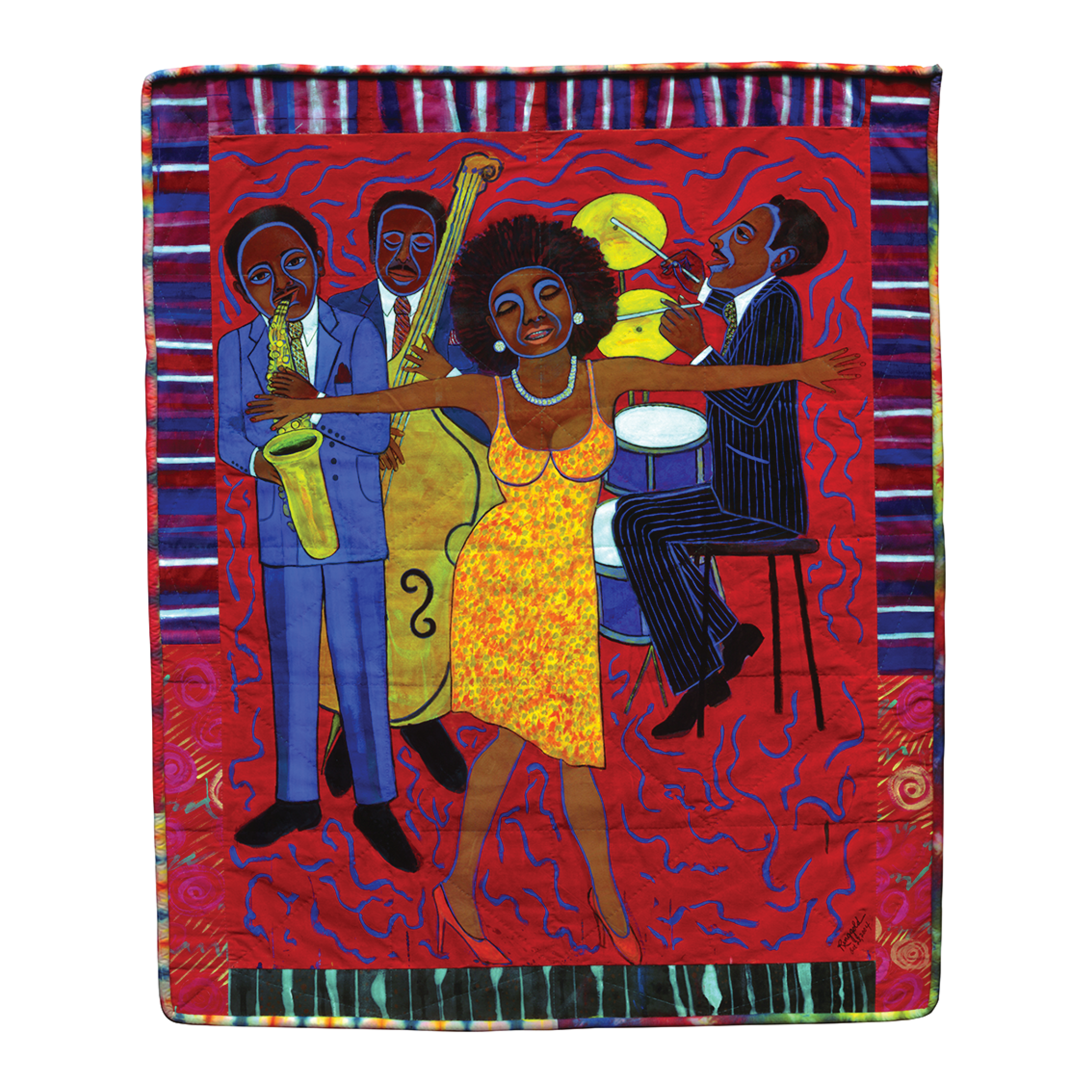 Faith Ringgold. Jazz Stories: Mama Can Sing, Papa Can Blow: Somebody Stole My Broken Heart, 2004. Acrylic on canvas with pieced fabric border. Courtesy ACA Galleries, New York. c Faith Ringgold/ Artists Rights Society (ARS), New York.