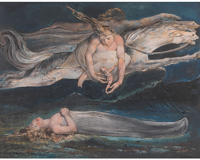 William Blake (1757-1827), Pity c1795, Colour print, ink and watercolour on paper c Tate