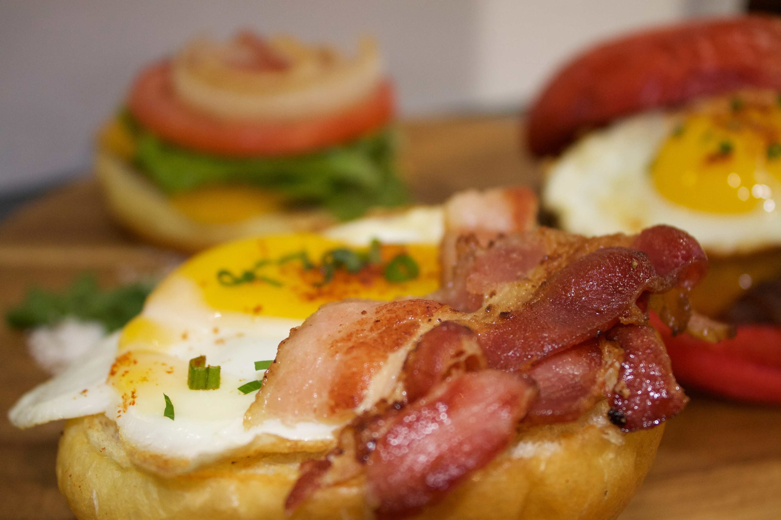 Breakfast Bun Applewood Bacon Free Range Ducks Egg