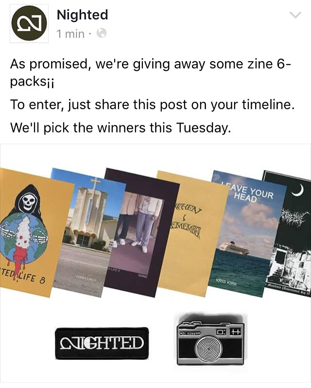 We're giving away some zine 6-packs on facebook. To enter, go to   our page   and share our top post (above) on your timeline.       https://facebook.com/nightedlife     Winners announced this Tuesday, June 7th¡¡