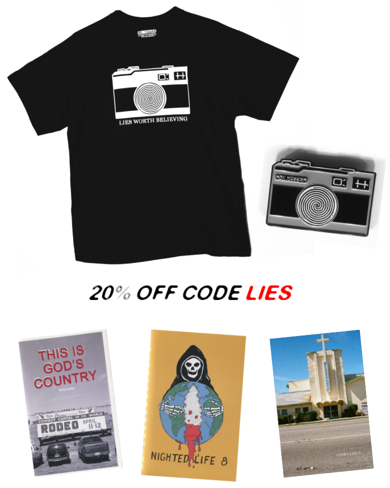 20% off with the code  LIES  - now thru this Friday, Dec. 11th.  Use the code at checkout for our zines, shirts, pins and more at   NIGHTED.Storenvy.com    All US orders are guaranteed to be delivered by Xmas.