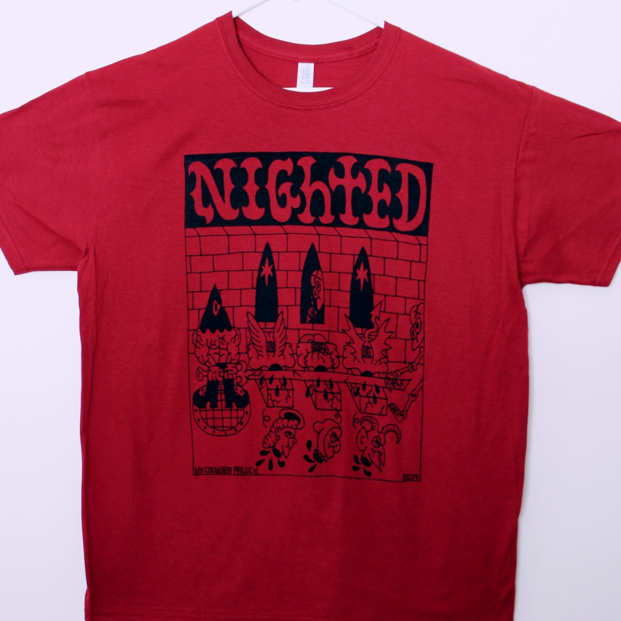 NIGHTED // Colburn Paluck T-Shirt    Red Gildan Softstyle t-shirt with an original illustration by Colburn Paluck on the front.  Limited run, up now in the   NIGHTED Store  .