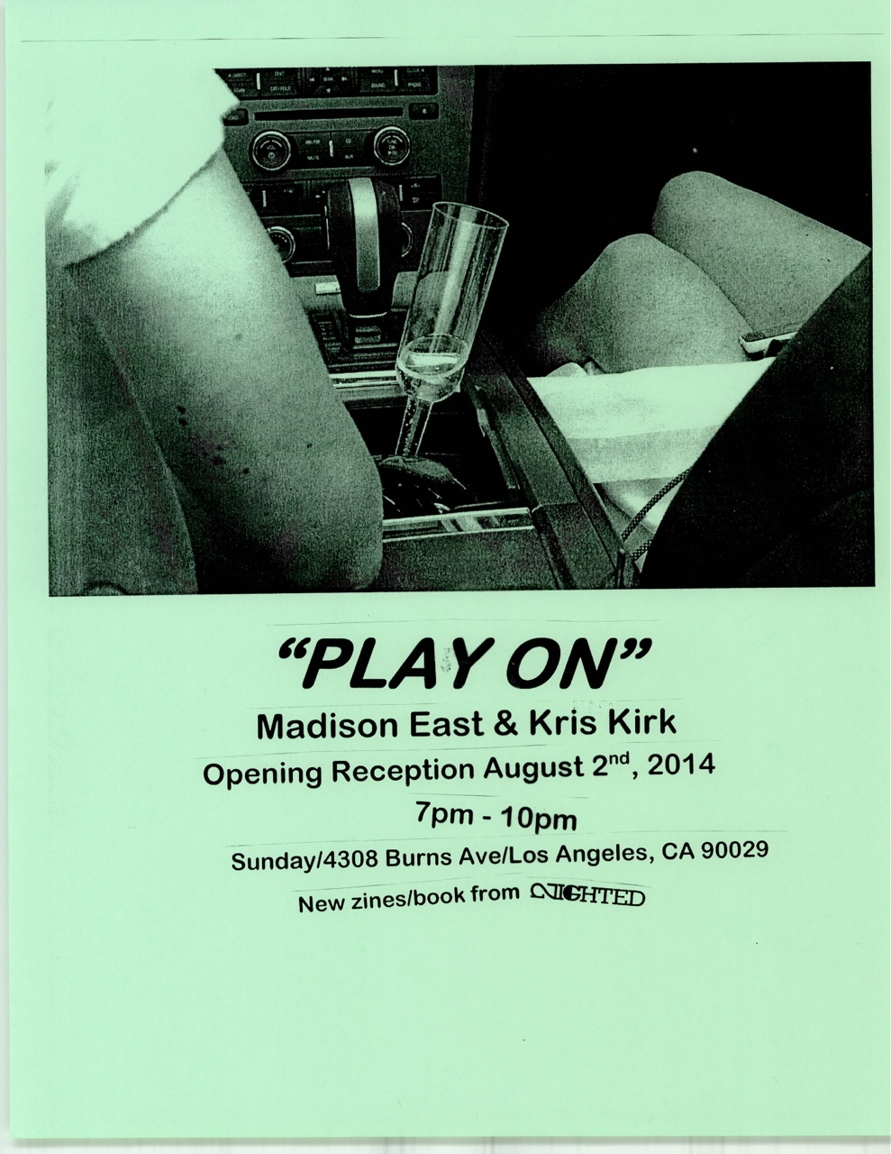 """Play On""       Madison East & Kris Kirk   Opening reception: August 2nd, 2014   7pm-10pm at Sunday Los Angeles/4308 Burns ave/   We're releasing two new zines and a book for the show!"