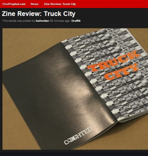 Awesome review of the Shawn Whisenant/ NIGHTED zine Truck City up now on   12oz  !