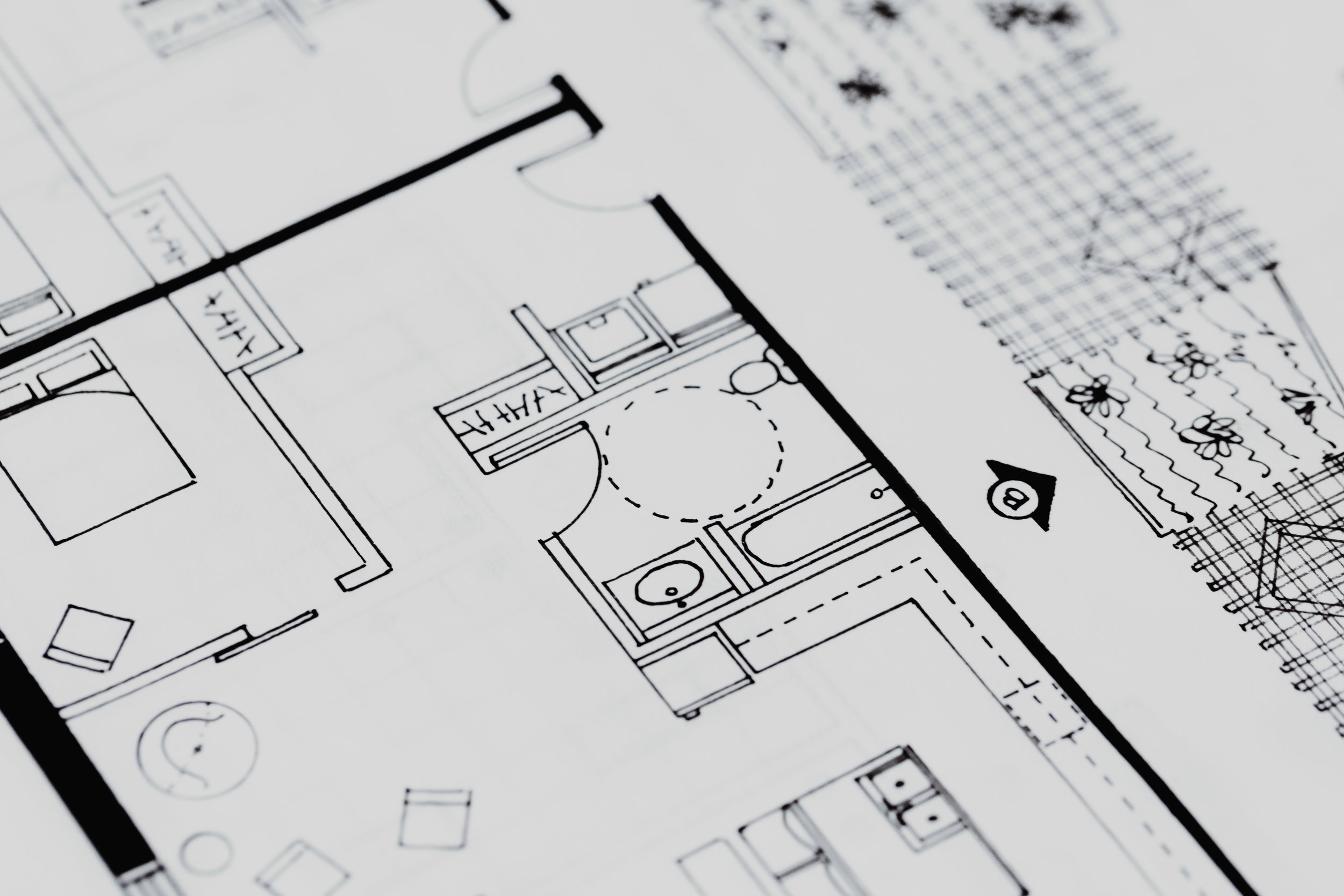 Hand drafted floor + ceiling plans