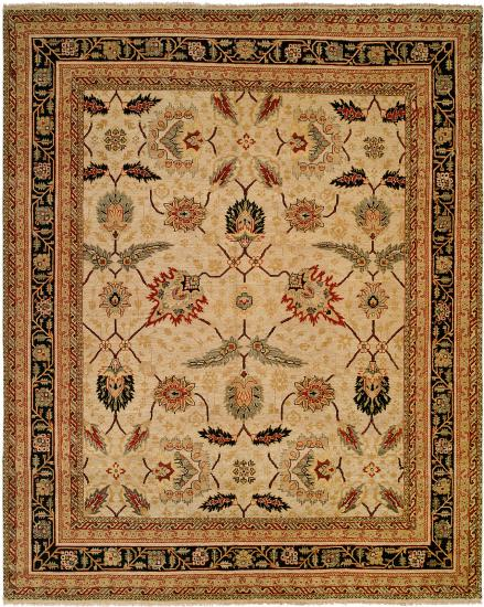 Rug #003890 Retail: $1,813.00 Sale: $1,269.00 Size: 4'x6' Color: Antique Parchment/Ebony Hand Knotted Wool Made in India