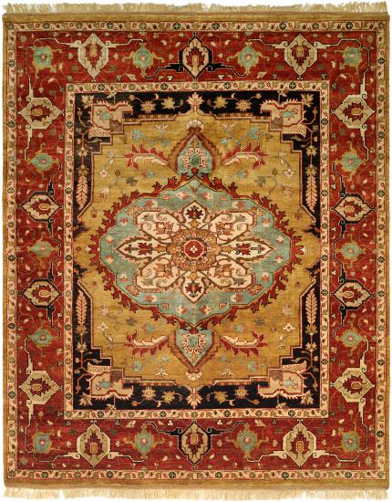 Rug #003827 Retail: $1,369.00 Sale: $958.00 Size: 4'x6' Color: Gold/Rust Hand Knotted Wool Made in India