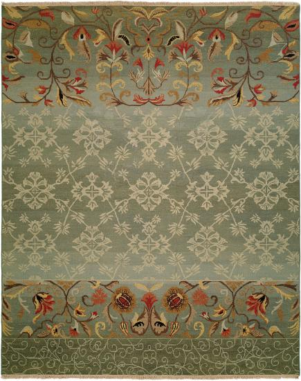 Rug #003626 Retail: $1,110.00 Sale: $777.00 Size: 4'x6' Color: Bayou Blue Hand Knotted Wool Made in India