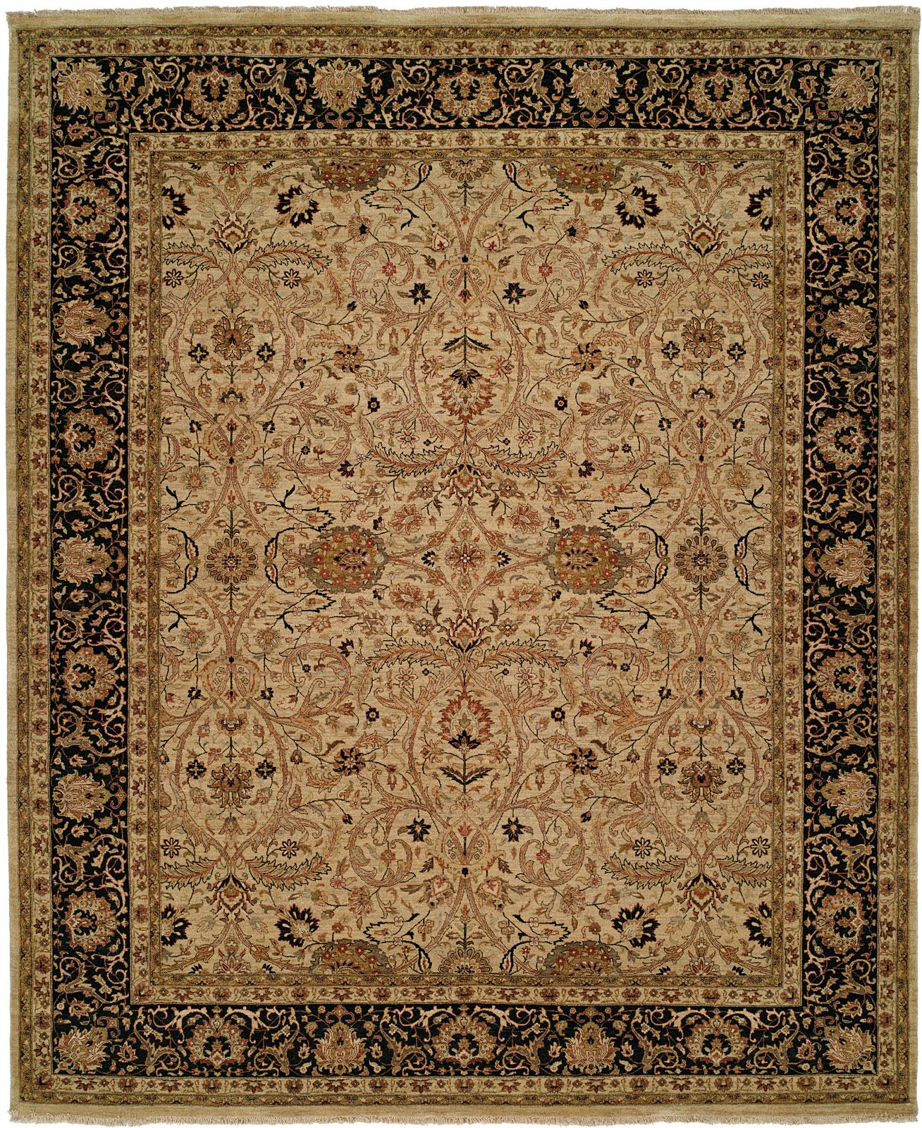 Rug: #001075 Retail: $10,064.00 Sale: $5,990.00 Size: 8' x 10' Color: Ivory/Black Made in India Hand Knotted Wool