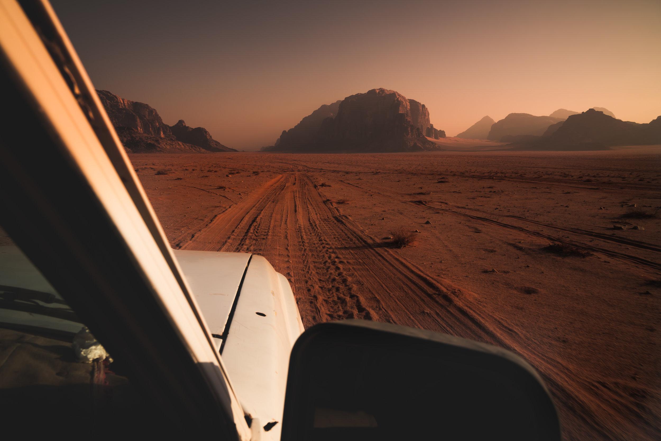 Wadi Rum sunset drives.