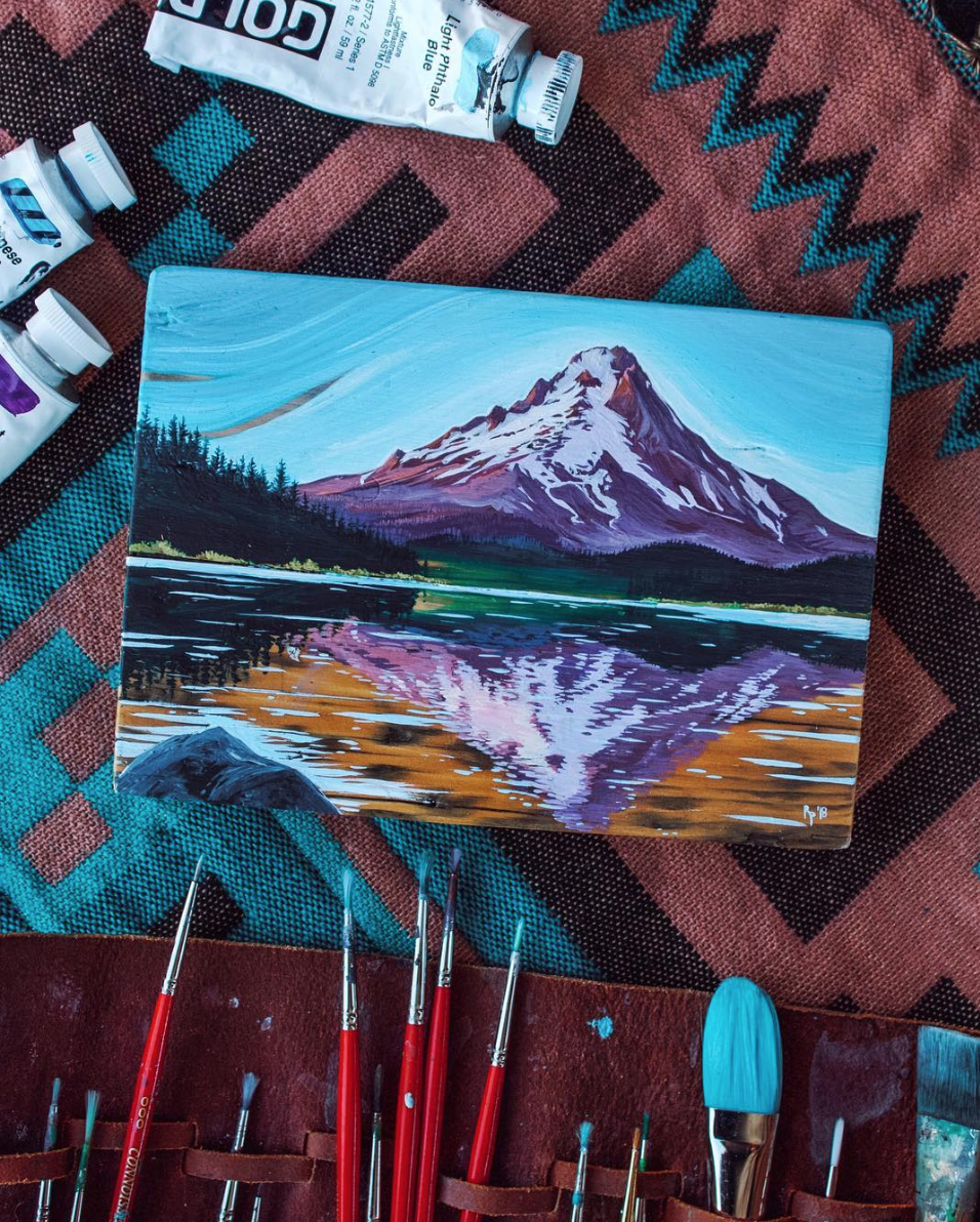 """""""But as I've been reflecting on recently, sometimes when things are less than ideal we more fully appreciate the good moments. I've been having a lovely time creating more than I have in months, and continuing to manifest the PNW trip I'm so excited about through the process of painting…What do you do to stay inspired, positive, and to practice self care??…I hope all of you are having a good week. I hope if you're like me and things are a bit hard in this transitional time of year, that you take a moment to reflect on what brings you joy and then pursue that.""""  (posted 10/17/18)"""