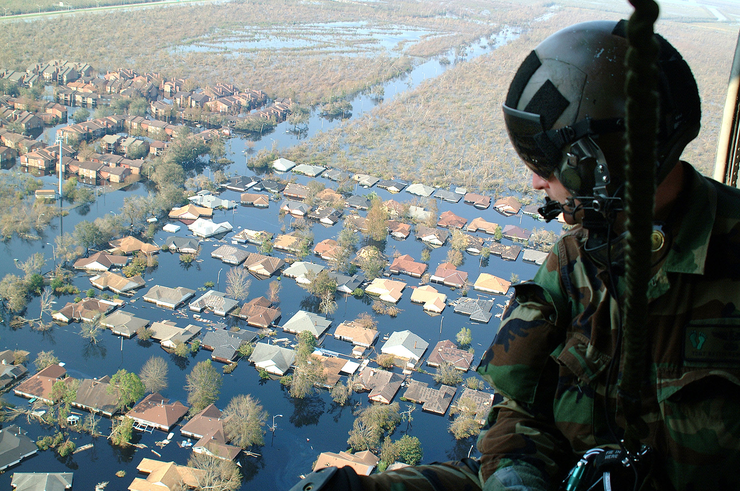 Flooding from Hurricane/Tropical Storm Barry in New Orleans area taken from National Guard rescue operations helicopter.