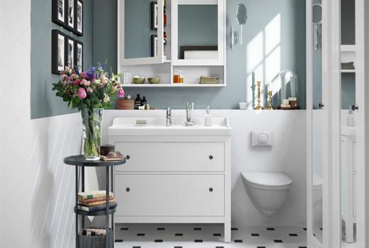 HEMNES Vanity and Mirror. RATTVIKEN sink.