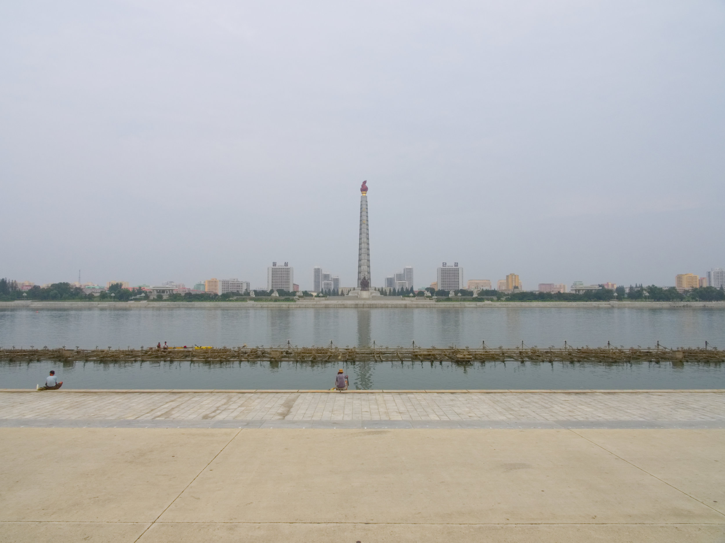 The Juche Tower across the Taedonggang River