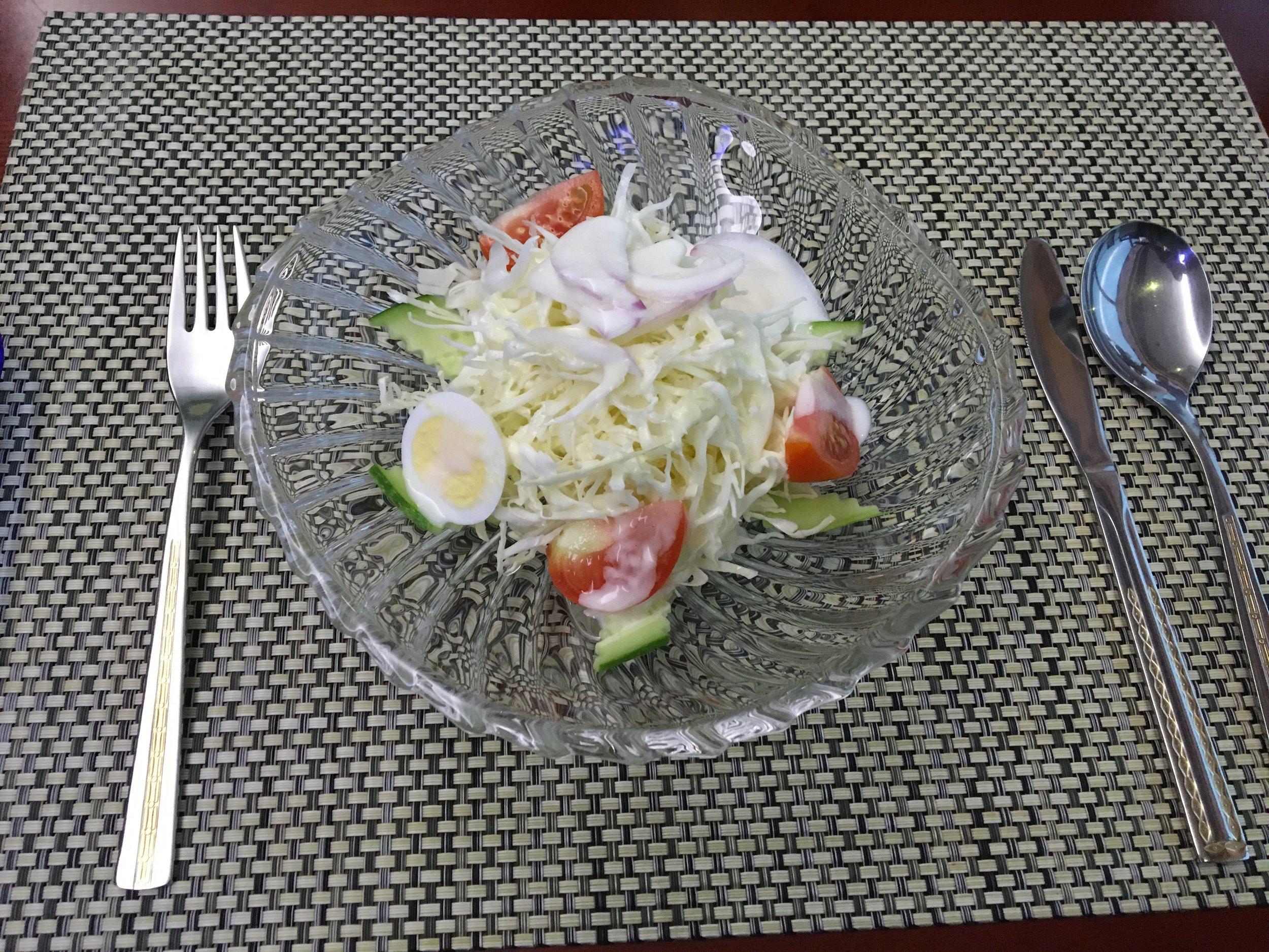 Salad with vinegar and mayo sauce