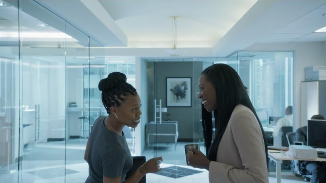 Molly and Rasheeda sharing a moment in the office. Photo credit: Insecure HBO