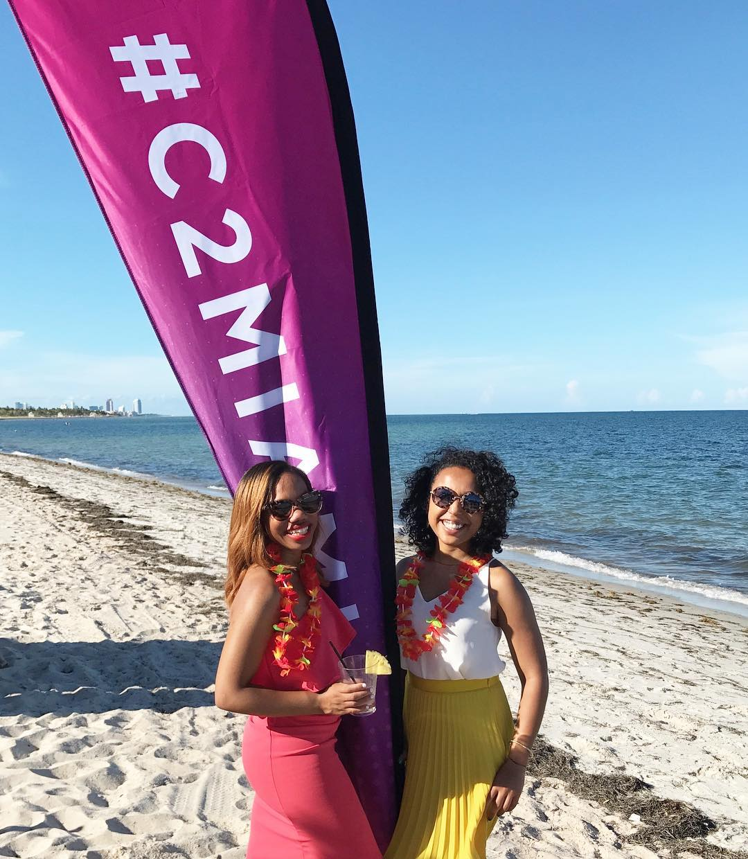 Ivie and I getting our life at the Hawaiian BET Experience at Ritz Carlton's Key Biscayne beach