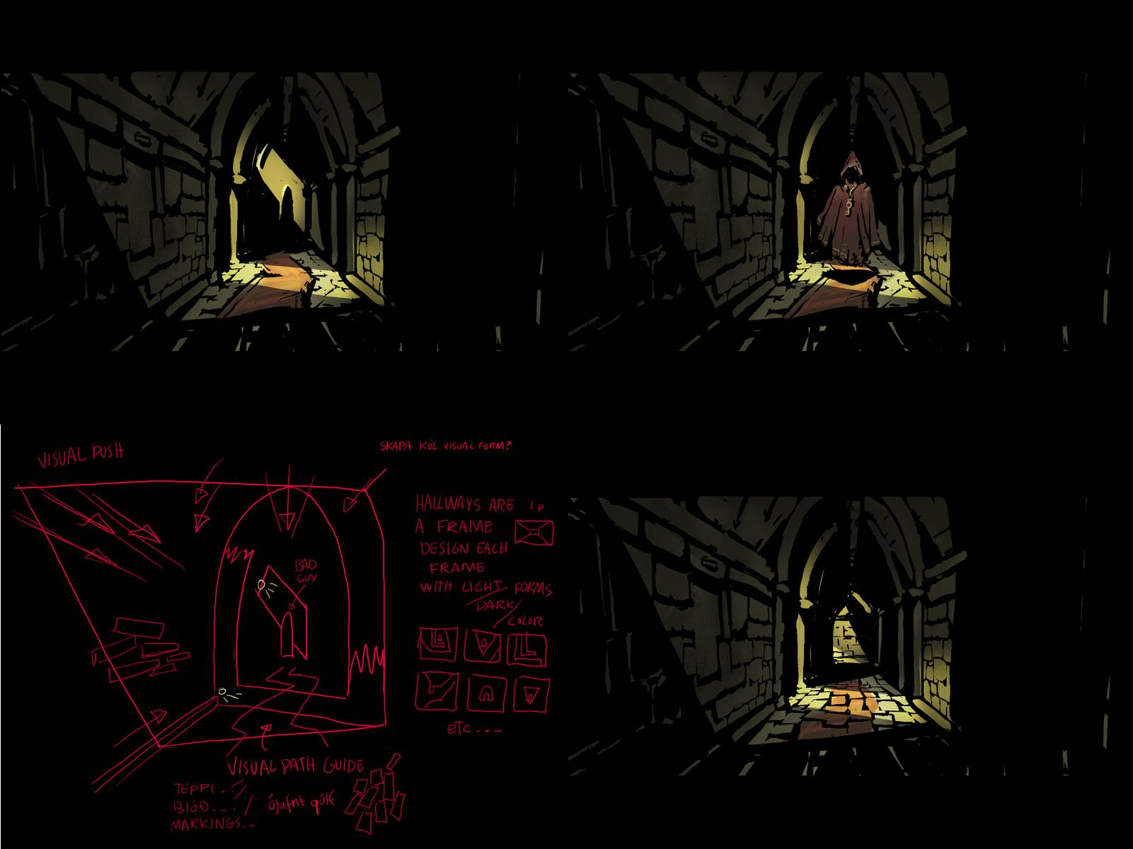 Dark dark dark hallways, filled with dangers and darkness.