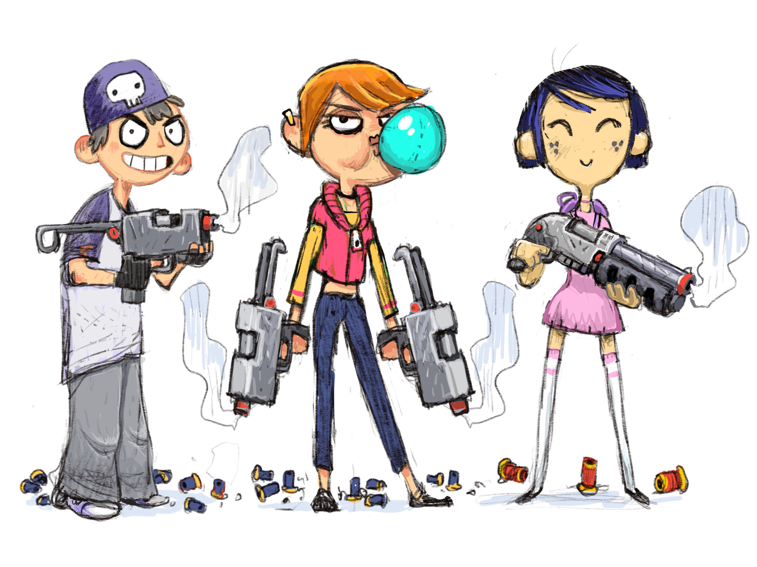 First iteration of the game's character designs.