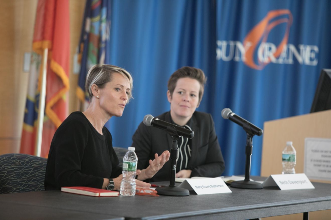 Stockade Works' Mary Stuart Masterson and Beth Davenport address the Hudson Valley Film Industry Conference on Thursday at SUNY Orange's campus in Newburgh. Photo: Allyse Pulliam for the Times Herald Record.