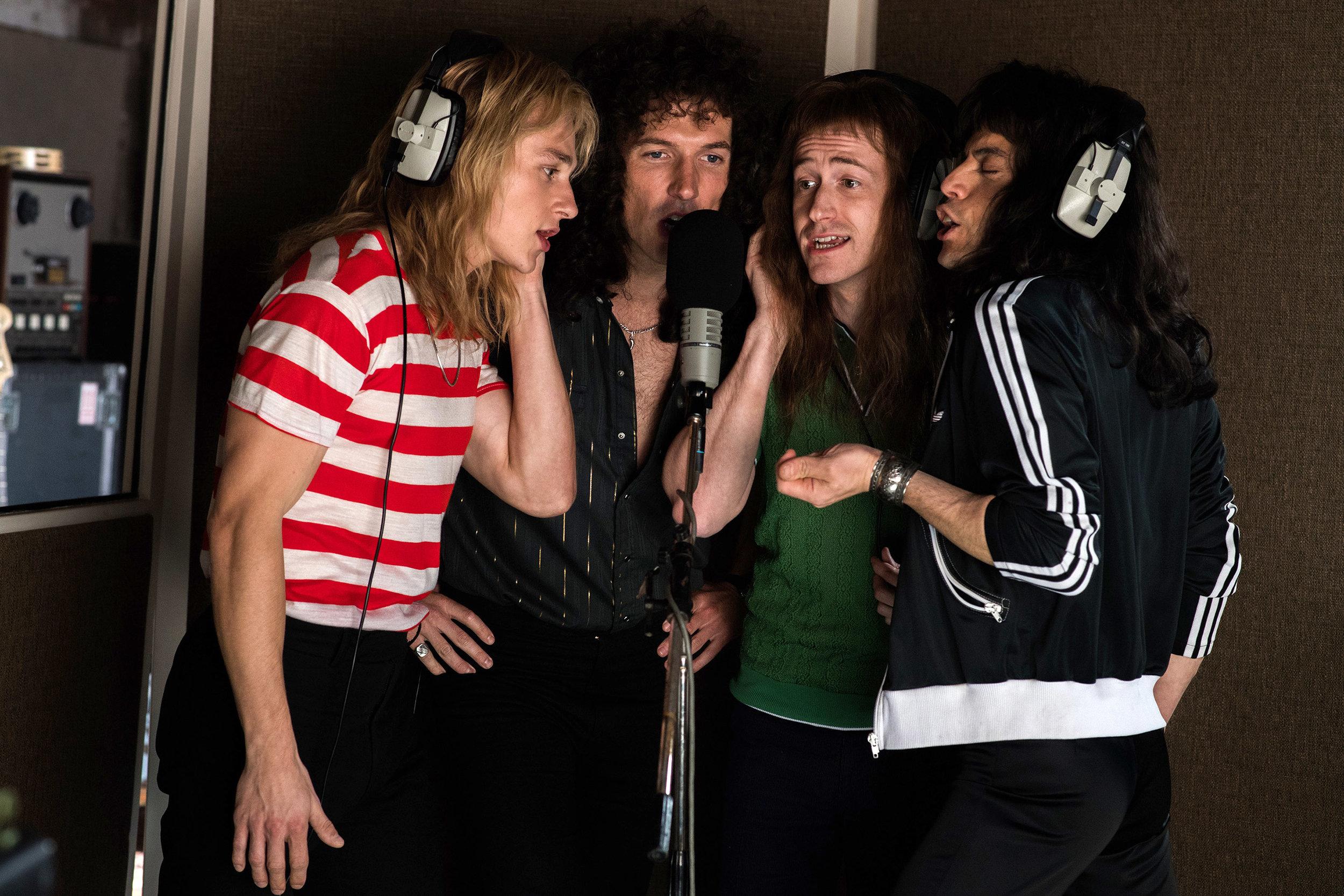 """Hyde Park's Joe Mazzello as Queen bassist John Deacon (second from right) in """"Bohemian Rhapsody"""""""