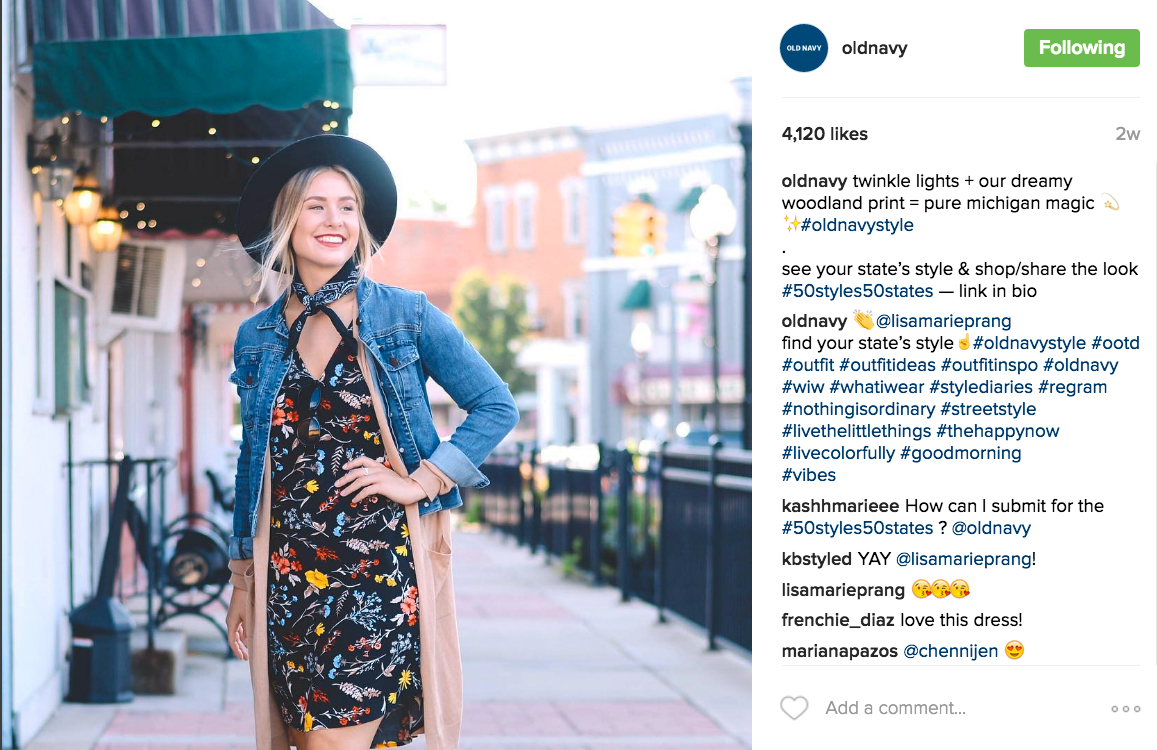 Our social media campaigned featured style icons across all 50 states who embodied the Old Navy spirit. #50styles50states. People.com hosted an interactive map.