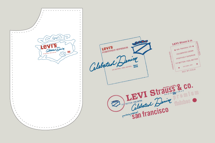 Levi's Juniors Pocketbag   Artwork created based on a Japanese type styling to be printed on the interior pocketbag of Juniors trend denim.