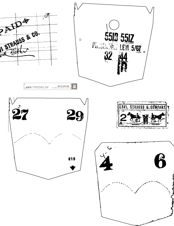 Premium Line Internal Label   Concepts for Levi's highest tier brand interior labels. Additional artwork created to be used as stamps / prints for pocketbag placement.
