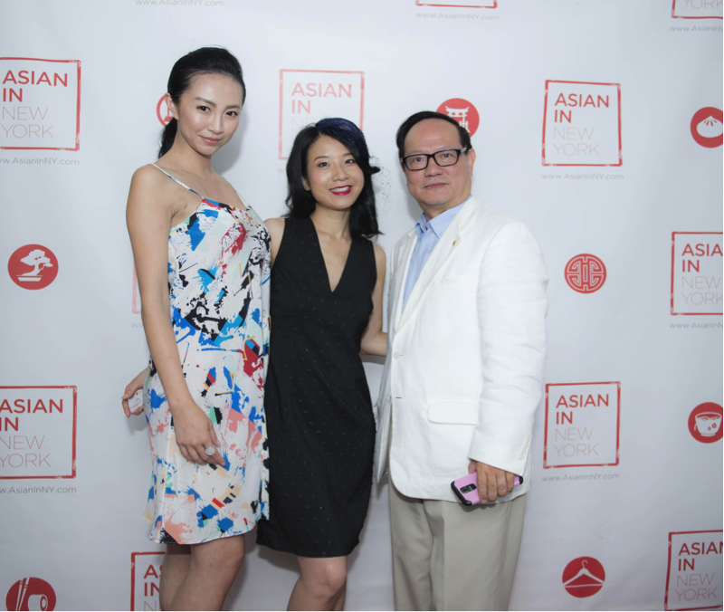 Alice Yim with model Carina and OTT Media CEO Eddie Mo