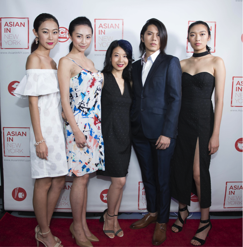 (Left to Right): Alice Yim with models Doreen, Carina, Zong Li (Music Composer),               Lauren