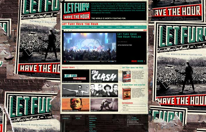 Website for Let Fury Have the Hour, a documentary about The Clash. Poster by Shepard Fairey.