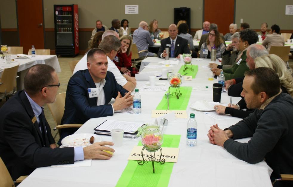 Citizens discuss legislative priorities with elected officials.